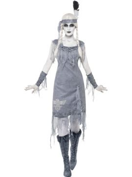 Ghost Town Indian Princess Costume For Sale - Ghost Town Indian Princess Costume, Grey, with Dress, Headband and Armbands, in Display Bag | The Costume Corner Fancy Dress Super Store