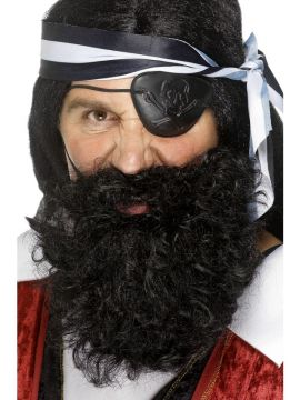 Pirate Beard - Black For Sale - Deluxe nylon pirate beard in black. | The Costume Corner Fancy Dress Super Store