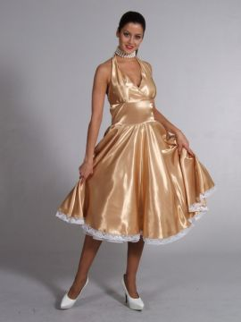 Gold Satin Dress For Sale - 1950s Gold satin Dress (Hire Costume) | The Costume Corner