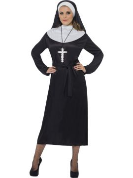 Nun For Sale - Nun, Black, with Dress, Belt and Headdress | The Costume Corner Fancy Dress Super Store