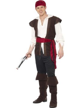 Pirate Costume For Sale - Pirate Costume, Black, Headscarf, Top, Trousers, Belt & Bootcovers, in Display Bag | The Costume Corner Fancy Dress Super Store