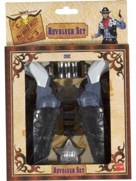Wild West Gun Set For Sale - Wild West Gun Set, with Holsters, Bullets and Badge | The Costume Corner Fancy Dress Super Store