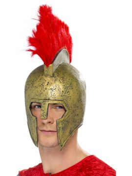 Gladiator Helmet For Sale - Perseus Gladiator Helmet, Gold, with Red Plume | The Costume Corner Fancy Dress Super Store