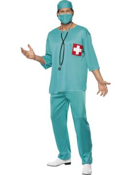 Surgeon For Sale - Surgeon Costume, Green, with Tunic, Trousers, Cap and Mask | The Costume Corner Fancy Dress Super Store