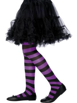 Striped Tights - Purple & Black For Sale - Tights Purple and Black, Striped, Age 6-12 | The Costume Corner Fancy Dress Super Store