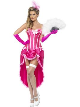 Burlesque Dancer - Pink For Sale - Burlesque Dancer Costume, Pink, with Corset and Adjustable Skirt | The Costume Corner Fancy Dress Super Store