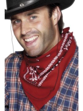 Acc - Cowboy Bandana - Red For Sale - Cowboy Bandana, Red, Western Design | The Costume Corner Fancy Dress Super Store