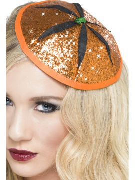 Pumpkin Fascinator For Sale - Pumpkin Fascinator, Orange, Glitter, in Display Pack | The Costume Corner Fancy Dress Super Store