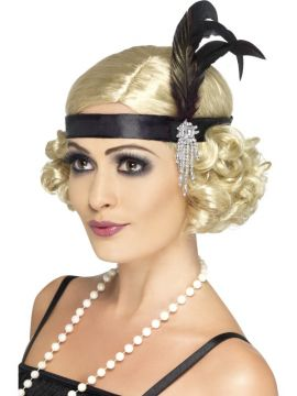 Charleston Headband For Sale - Black Satin Charleston Headband, with Feather and Jewel Detail | The Costume Corner Fancy Dress Super Store
