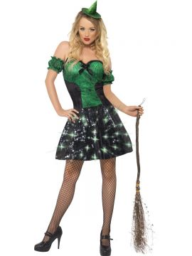 Fever Wicked Witch Light Up Costume For Sale - Fever Wicked Witch Light Up Costume, with Dress and Sleeves, in Display Bag | The Costume Corner Fancy Dress Super Store