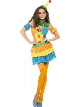 Fever Colourful Clown Cutie Costume For Sale - Fever Colourful Clown Cutie Costume, with Sequin Dress, Neck Ruffle and Hat, in Display Bag | The Costume Corner Fancy Dress Super Store