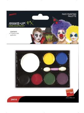 Face Painting Palette For Sale - Face Painting Palette, with Applicator, 7 Colours, Greasepaint | The Costume Corner Fancy Dress Super Store