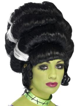 Pin Up Frankie Wig For Sale - Pin Up Frankie Wig, Black, with White Streaks, in Display Box | The Costume Corner Fancy Dress Super Store