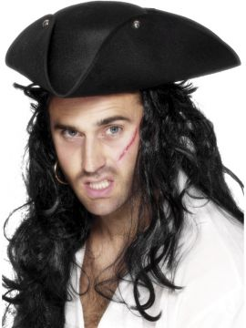Pirate Tricorn Hat - Black For Sale - Pirate Tricorn Hat, Black, with Studs. | The Costume Corner Fancy Dress Super Store