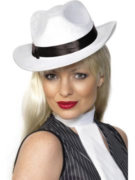 Gangster Hat White For Sale - Gangster Hat White, With Band | The Costume Corner Fancy Dress Super Store