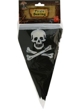 Pirate Flag Bunting For Sale - Pirate Flag Bunting, 7m, with Printed Skull and Crossbones | The Costume Corner Fancy Dress Super Store