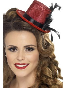 Mini Tophat - Red For Sale - Mini Tophat, Red, with Black Ribbon and Feather | The Costume Corner Fancy Dress Super Store