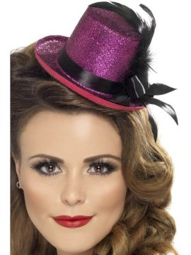 Mini Tophat - Hot Pink For Sale - Mini Tophat, Hot Pink, with Black Ribbon and Feather | The Costume Corner Fancy Dress Super Store