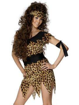 Cavewoman For Sale - Cavewoman Costume, Black and Brown, Leopard Print, with Tunic, Belt, Head and Armband | The Costume Corner Fancy Dress Super Store