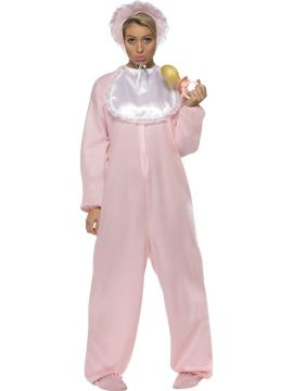 Baby Romper - Pink For Sale - Baby Romper Costume, Pink, with Fleece Bodysuit, Bonnet and Bib | The Costume Corner Fancy Dress Super Store