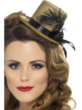 Mini Tophat - Gold For Sale - Mini Tophat, Gold, with Black Ribbon and Feather | The Costume Corner Fancy Dress Super Store