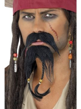 Pirate Facial Hair Set For Sale - Pirate Black Moustache and Beard. | The Costume Corner Fancy Dress Super Store