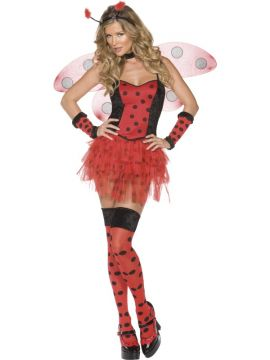 Fever Lady Bug For Sale - Fever Lady Bug Costume, Red and Black, Corset, Tutu, Wings, Stockings, Choker, Gloves & Headpiece | The Costume Corner Fancy Dress Super Store
