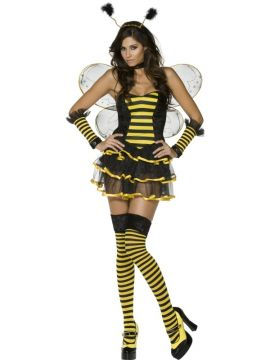 Bumblebee For Sale - Fever Bumblebee Costume, Black and Yellow, Tutu, Corset, Wings, Stockings, Choker, Headpiece & Gloves | The Costume Corner Fancy Dress Super Store