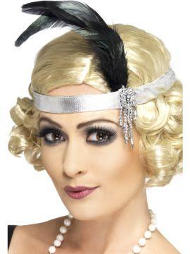 Silver Charleston Headband For Sale - Silver Satin Charleston Headband, With Black Feather and Jewel | The Costume Corner Fancy Dress Super Store