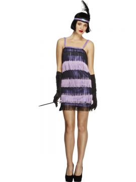 Fever Flapper Costume For Sale - Fever Flapper Costume, Purple, Dress and Head Piece with Feather, in Display Bag | The Costume Corner Fancy Dress Super Store