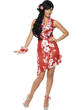 Hawaiian Beauty For Sale - Hawaiian Beauty Costume, Red, with Dress, Hairpiece and Anklet | The Costume Corner Fancy Dress Super Store