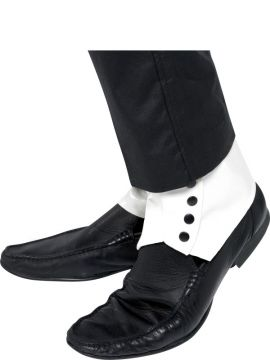Spats - White For Sale - Spats, White with Black Buttons | The Costume Corner Fancy Dress Super Store