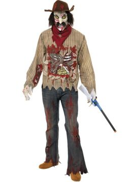 Zombie Cowboy For Sale - Zombie Cowboy Costume, with Shirt, Scarf, Hat with Hair, Mask and Gloves. | The Costume Corner Fancy Dress Super Store