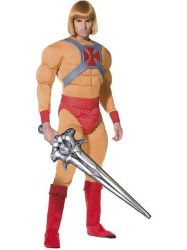 He Man For Sale - He Man/Prince Adam Costume, Muscle Jumpsuit with Belt, Cuffs, Bootcovers and Inflatable Sword. | The Costume Corner Fancy Dress Super Store