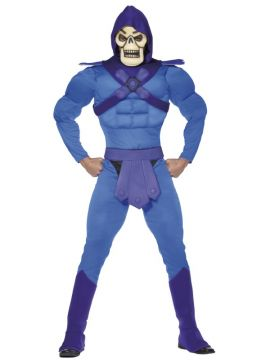 Skeletor For Sale - Skeletor Costume, Blue, Hooded Muscle Jumpsuit, Belt, Bootcovers and Mask. | The Costume Corner Fancy Dress Super Store