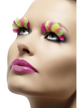 Eyelashes For Sale - Eyelashes, Multi-Coloured, Neon, Feather, Contains Glue, in Display Box | The Costume Corner Fancy Dress Super Store