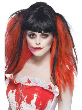 Blood Drip Wig For Sale - Blood Drip Wig, Black, Bunches with Blood Effect, in Display Box | The Costume Corner Fancy Dress Super Store