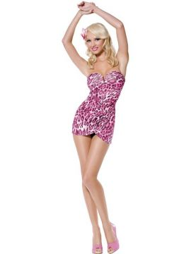 Jungle Honey For Sale - Fever Pin Up Jungle Honey Costume, Pink, with Dress and Flower Hair Clip | The Costume Corner Fancy Dress Super Store