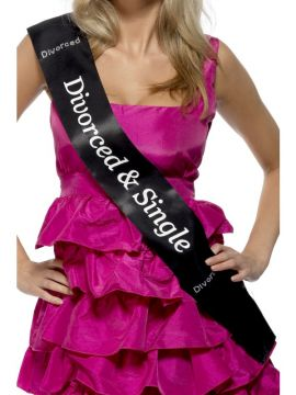 Divorced and Single Sash For Sale - Divorced and Single Sash, Black, with Diamantes | The Costume Corner Fancy Dress Super Store