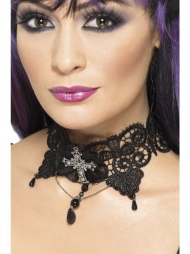Gothic Lace Choker For Sale - Gothic Lace Choker, Black, Ornate with Jewelled Cross | The Costume Corner Fancy Dress Super Store