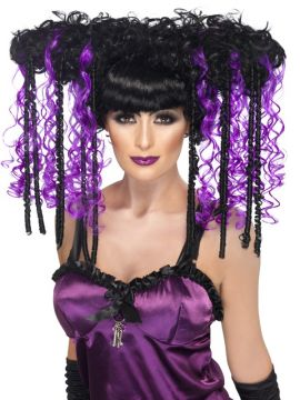 Gothic Emo Wig For Sale - Gothic Emo Wig, Purple, Curly, in Display Box | The Costume Corner Fancy Dress Super Store
