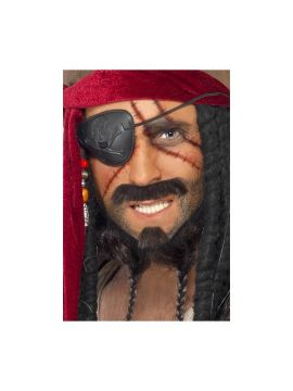 Pirate Make Up Kit For Sale - Pirate Make Up Kit, 2 Colours, Brush, Sponge, Eyepatch & Guide | The Costume Corner Fancy Dress Super Store