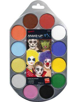 Make-Up Palette For Sale - Smiffy's Make-Up FX Palette, 12 Colours, 4 Brushes, 2 Sponges & Guide | The Costume Corner Fancy Dress Super Store