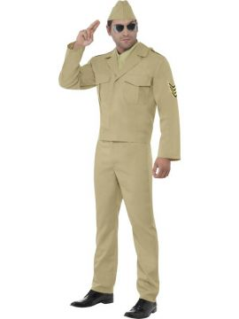 American GI For Sale - American GI Costume, Beige, with Hat, Jacket, Mock Shirt, Tie and Trousers. | The Costume Corner Fancy Dress Super Store