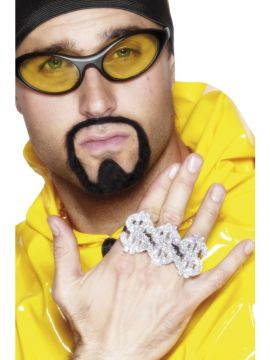 3 in 1 Dollar Rapper Ring For Sale - 3 in 1 Dollar Rapper Ring, Silver | The Costume Corner Fancy Dress Super Store