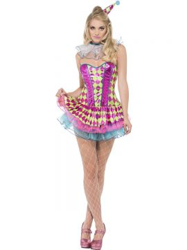 Fever Neon Harlequin Clown Costume For Sale - Fever Neon Harlequin Clown Costume, Pink, with Tutu Dress, Neck Ruffle and Hat, in Display Bag | The Costume Corner Fancy Dress Super Store