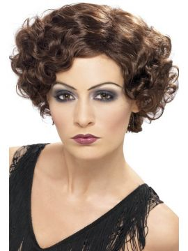 Flapper Wig - Brown For Sale - 20'S Flirty Flapper Wig, Brown, Short and Wavy | The Costume Corner Fancy Dress Super Store