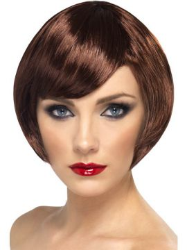 Babe Wig - Brown For Sale - Babe Wig, Brown, Short Bob with Fringe | The Costume Corner Fancy Dress Super Store