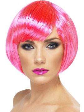 Babe Wig - Neon Pink For Sale - Babe Wig, Neon Pink, Short Bob with Fringe | The Costume Corner Fancy Dress Super Store