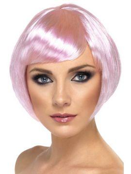 Babe Wig - Light Pink For Sale - Babe Wig, Pink, Short Bob with Fringe | The Costume Corner Fancy Dress Super Store